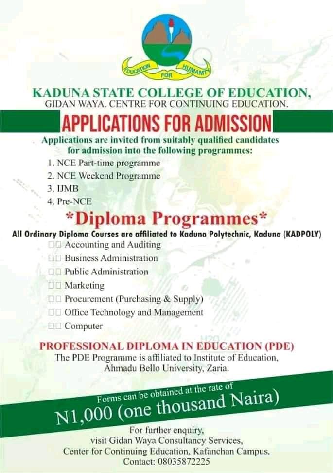 KSCOE Kafanchan NCE PT, IJMB, Diploma & PDE Form 2020/2021