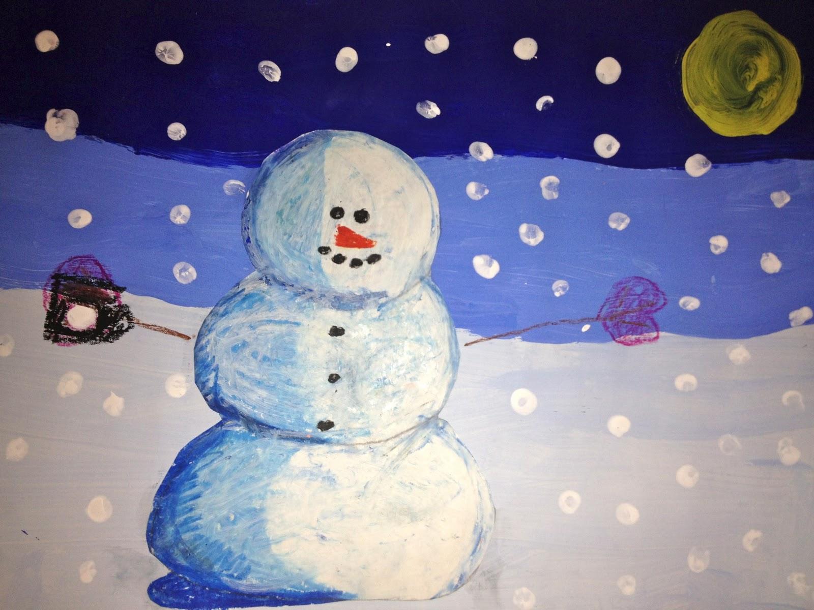 Art It S Made To Be Seen 3rd Grade Snowmen At Night