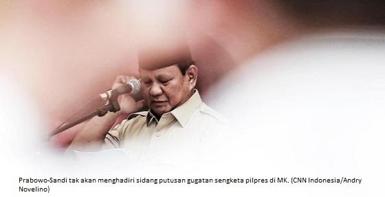Prabowo-Sandi Dipastikan Tidak Hadir Pada Pembacaan Putusan di MK