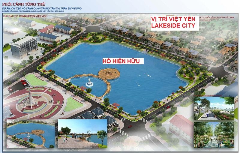 Dự án Việt Yên Lakeside City nằm đối diện hồ trung tâm thị trấn Bích Động, huyện Việt Yên, tỉnh Bắc Giang
