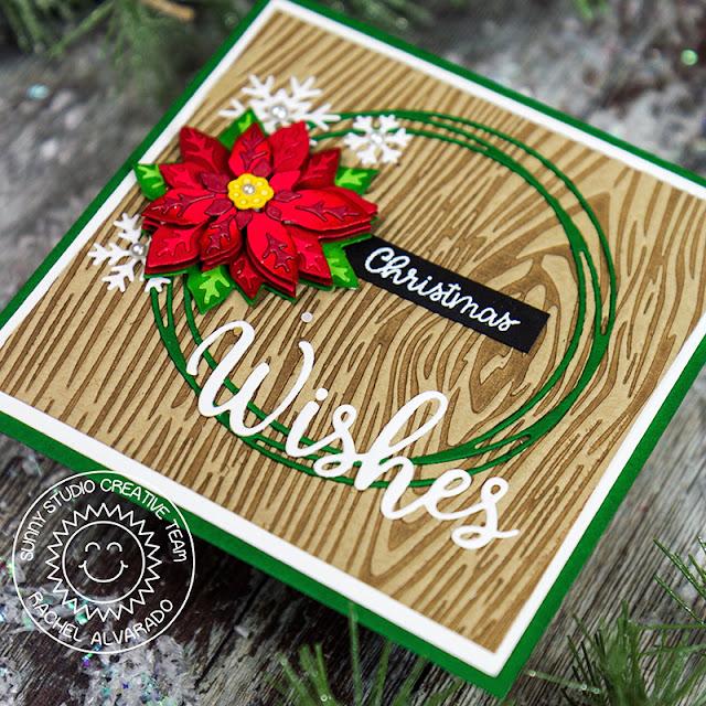 Sunny Studio Stamps: Layered Poinsettia Dies Circle Snowflake Frame Dies Layered Snowflake Frame Dies Christmas Themed Card by Rachel Alvarado