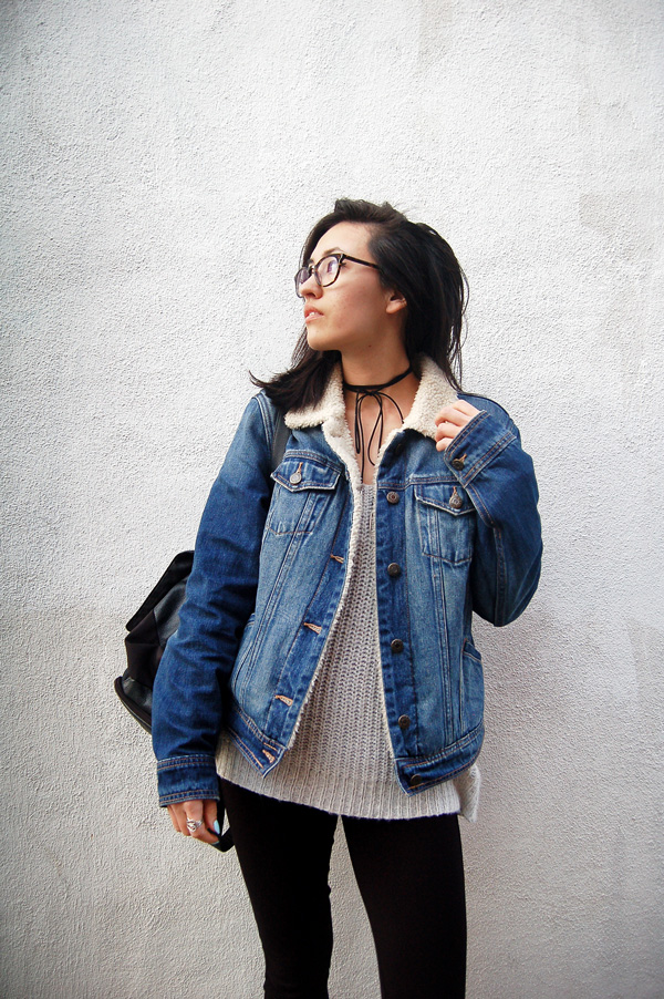 shearling denim jacket sweater blogger