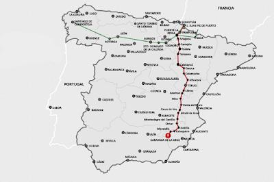 Mapa de España con la indicación del Camino de la Vera Cruz