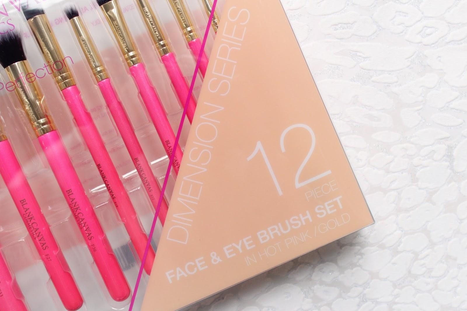 Blank Canvas 12 Piece Hot Pink & Gold Brush Set