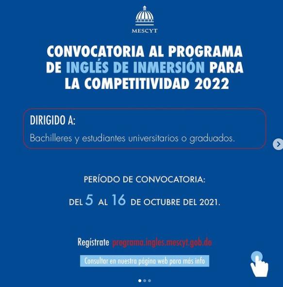 ESTÁ DISPONIBLE CONVOCATORIA DEL PROGRAMA INGLÉS POR INMERSIÓN 2022