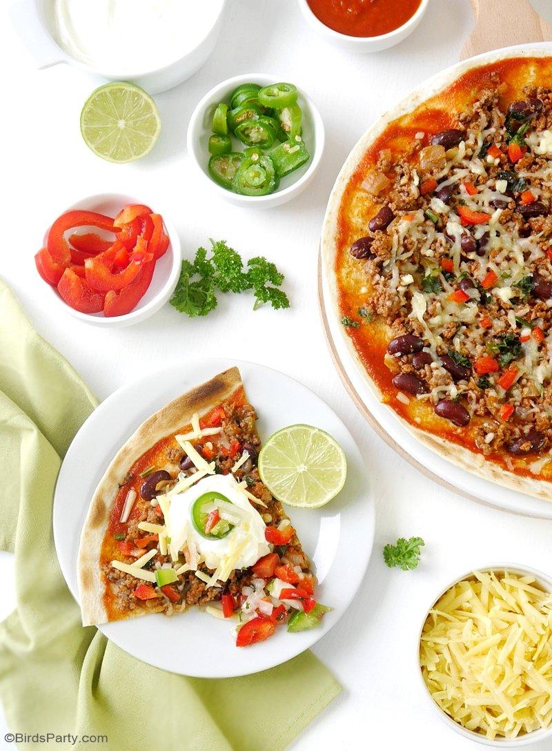 Pizza Mexicaines Faciles & Rapides - une recette délicieuse pour les apéros et fêtes entre amis. cette version plus saine de la pizza revirera tous! | BirdsParty.fr