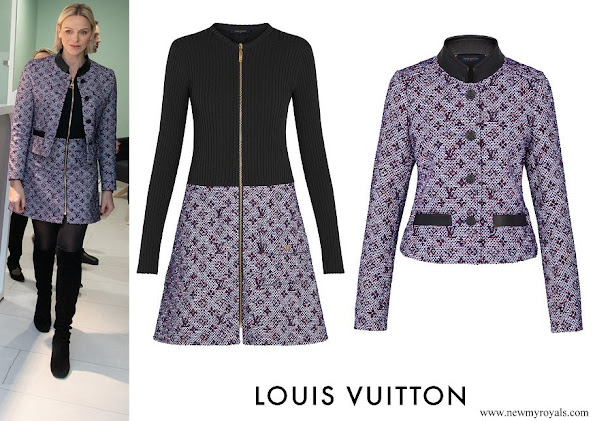 Princess Charlene wore Louis Vuitton lurex monogram tweed fitted jacket and bi-material dress