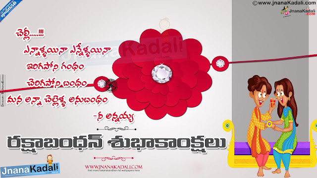 rakshabandhan  telugu messages, happy rakshabandhan telugu greetings rakshabandhan wallpaper with Quotes in Telugu