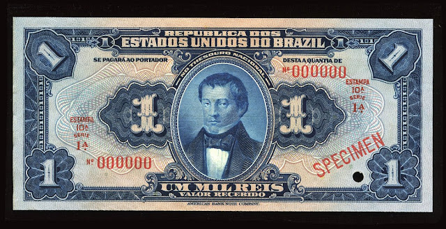 Brazil currency American Bank Note Mil Reis Banknote bill