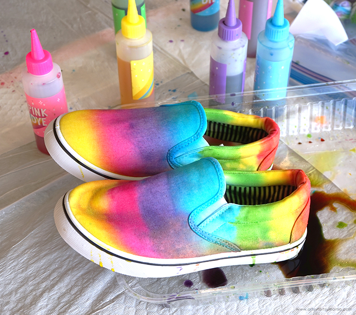 Shoes with Tie Dye Bottles