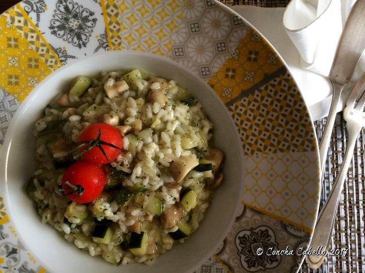 risotto-calabacín-champiñón-plato