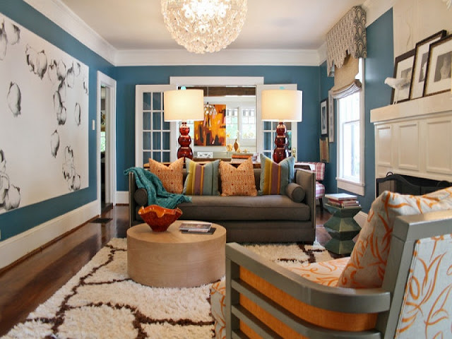 Epic Brown Blue North Facing Living Room Colour Ideas