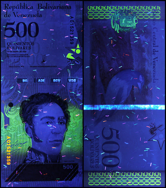 Venezuela Currency 500 Bolivares Soberanos banknote 2018 under ultraviolet light
