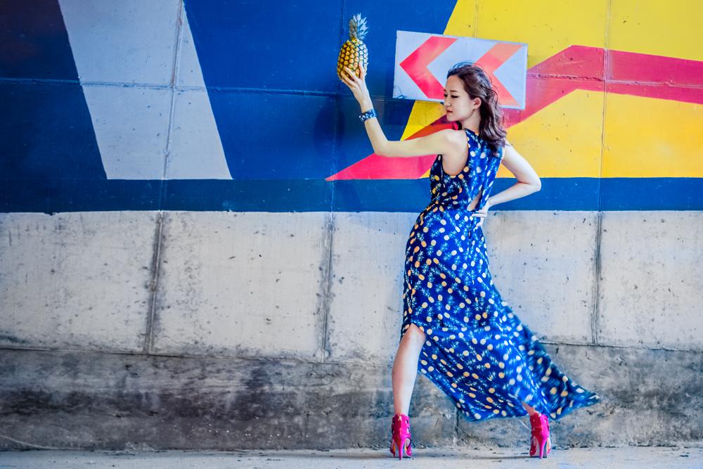 модная одежда, korean fashion, основы корейской моды, корейская мода, корейские бренды, ананас, тропический принт, тропический рисунок, здоровое питание, модный принт, модный сарафан, сарафан на лето, рисунок на платье, заводной апельсин, апельсин