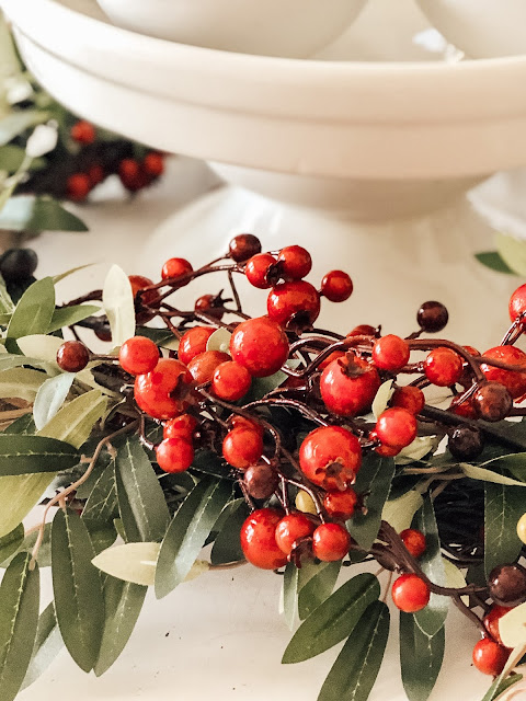 olive leaf red berry wreath
