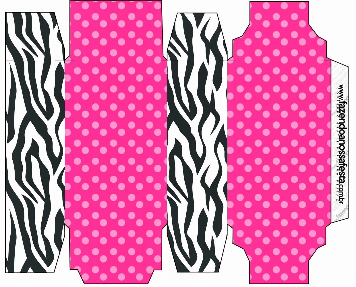 Free Printable Box in Zebra and Pink.