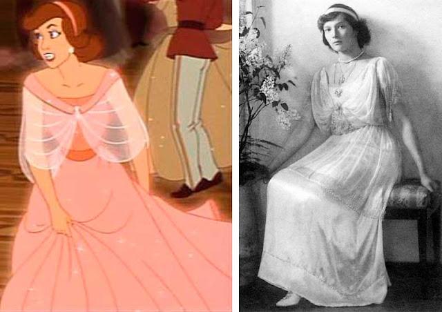Tatiana Romanov desenho animado e foto real