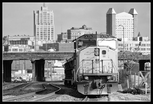 UP 6356 sits in a sidinig along the Jefferson City Subdivision in St. Louis, MO.