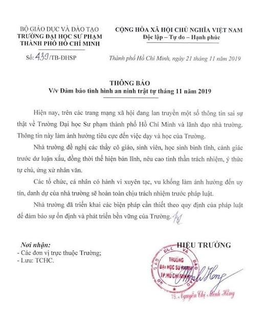 Hiệu trưởng sự phạm ĐH TPHCM Nguyễn Thị Minh Hồng đang dọa cả Sinh Viên lẫn cả xã hội?
