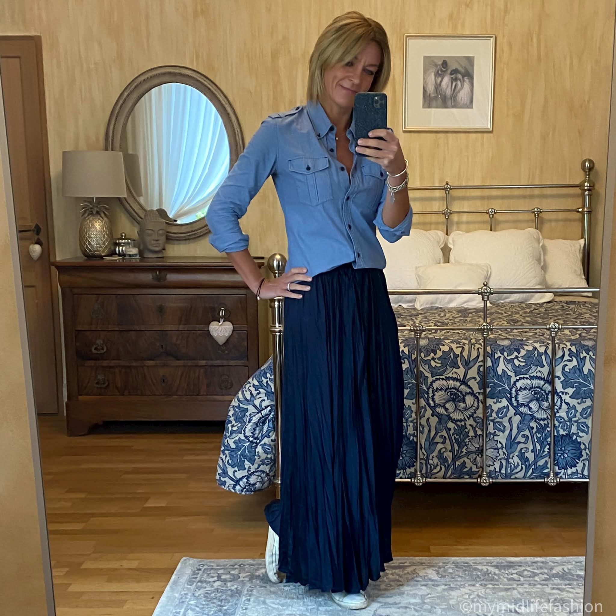 my midlife fashion, Isabel Marant Etoile military shirt, zara satin maxi skirt, golden goose superstar low top leather trainers