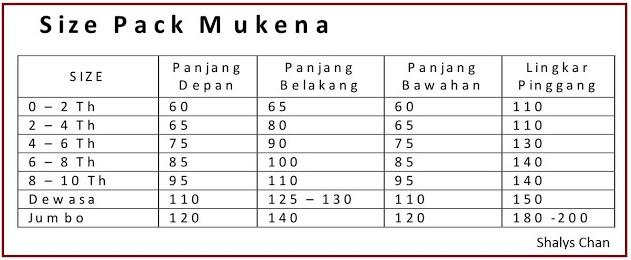 Ukuran Mukena Dewasa