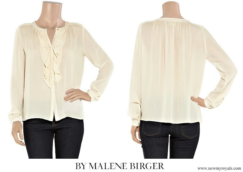 Princess Victoria wore By Malene Birger Drambor Ruffled Cream Blouse