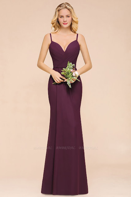 Fantastic Spaghetti Straps Grape Ruffle Long Bridesmaid Dress