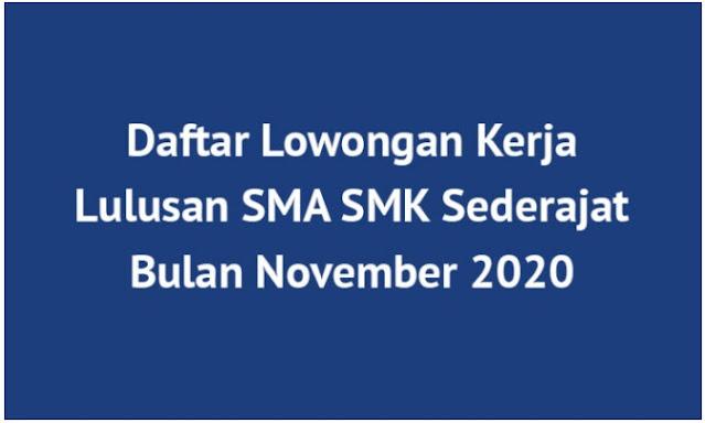 Lowongan Kerja SMA SMK Bulan November 2020