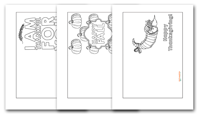 Colorable Thanksgiving Cards