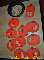 Halloween math activity counting pumpkin seeds
