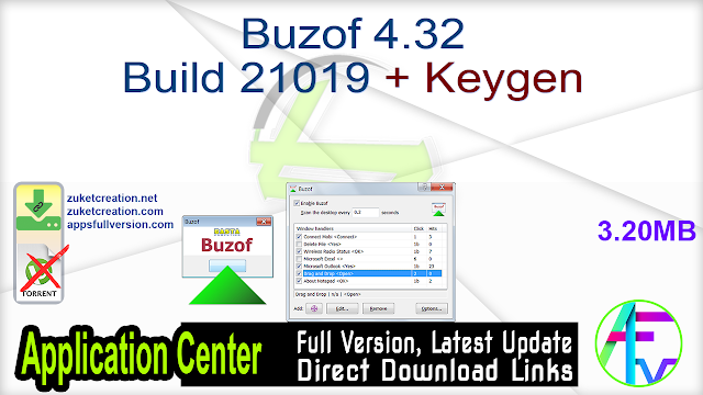 Buzof 4.32 Build 21019 + Keygen