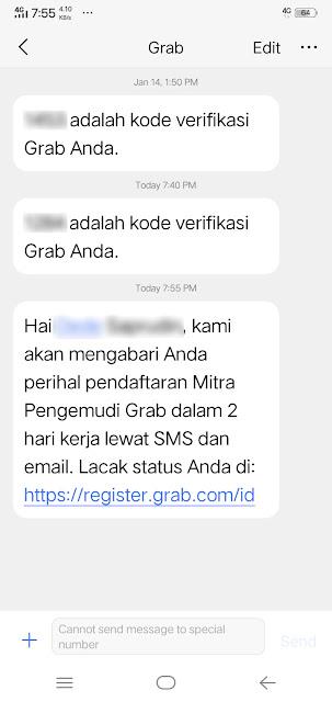 SMS Pendaftaran dari Grab