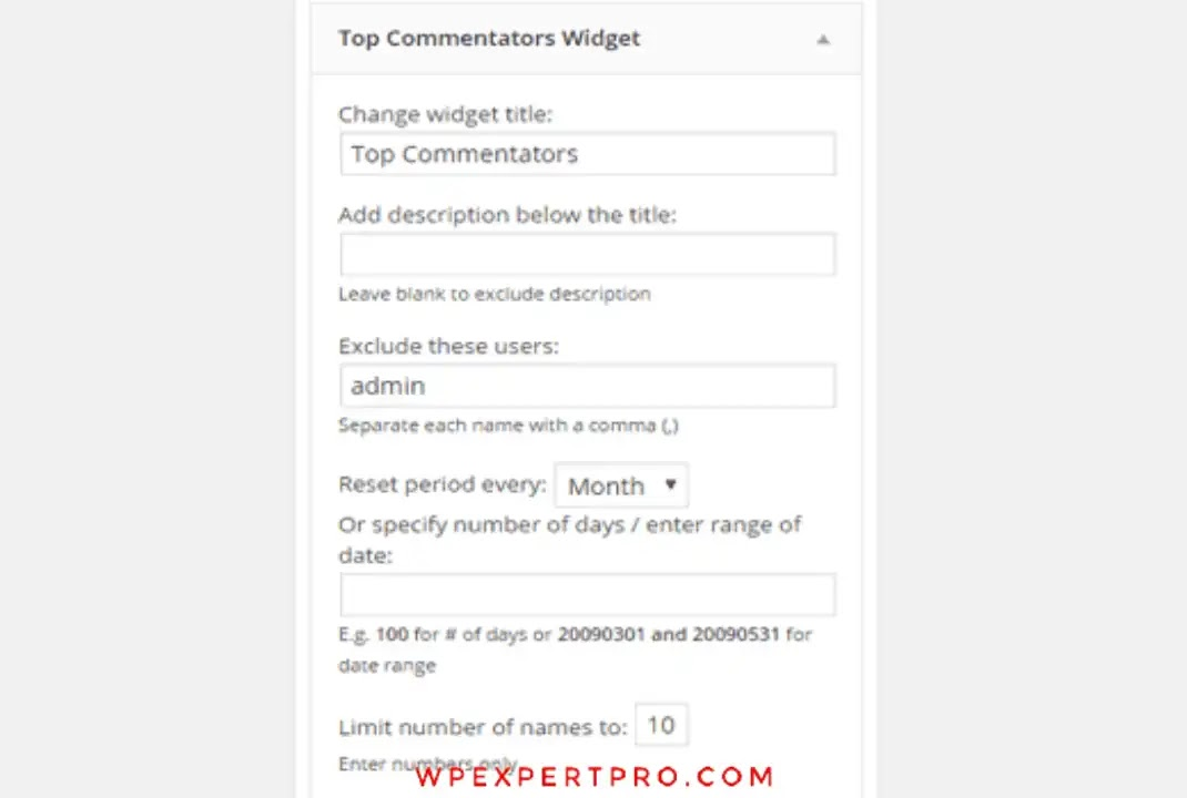 Widget settings for top commenters