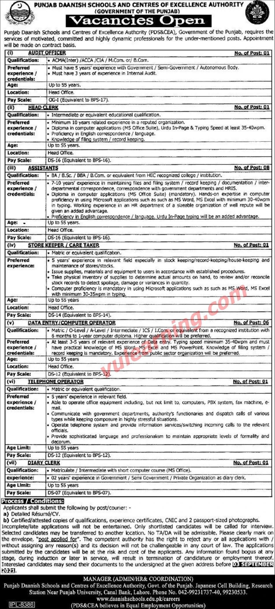 Punjab Daanish Schools & Centres of Excellence Authority PDS&CEA Jobs 2021