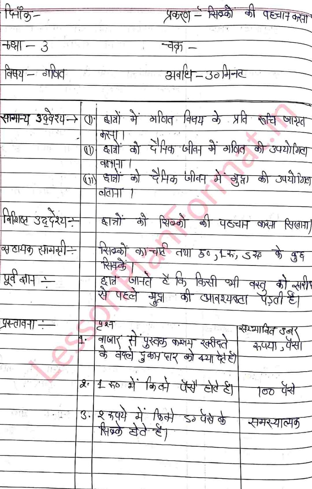 Maths Class 3 Lesson Plan in Hindi