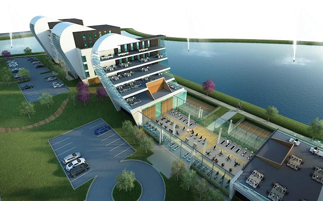 Perspective 3D axonométrique de bâtiment - salle de sport