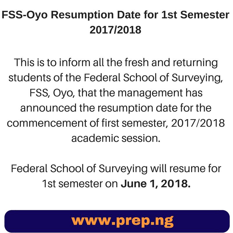 Prep.NG: FSS-Oyo Resumption Date for 1st Semester 2017/2018