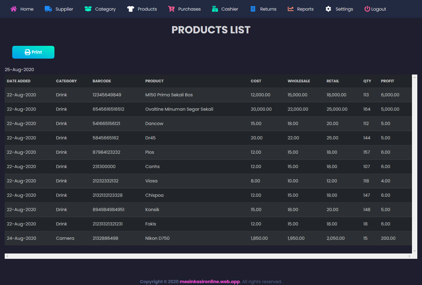 new modern website + aplikasi kasir toko penjualan online grosir dan eceran