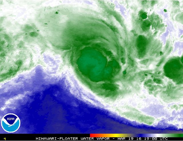 Image satellite de la forte tempête tropicale Emeraude