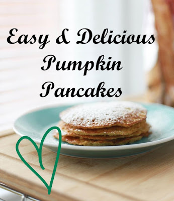 An image of a stack of pumpkin pancakes with the text Easy and Delicious Pumpkin Pancakes on the top of the image