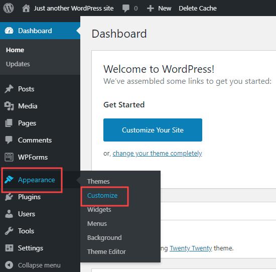 WordPress Dashboard showing where to look - Customize