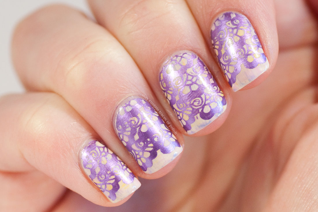 Purple Metallic Wedding Nails using MoYou Bridal 06