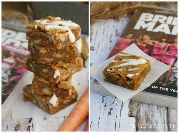 Carrot Cake Blondies inspired by Bridesmaids for Food 'n Flix