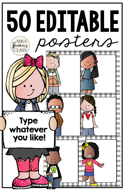 Editable Class Posters for your classroom Kindergarten First Grade Second Grade