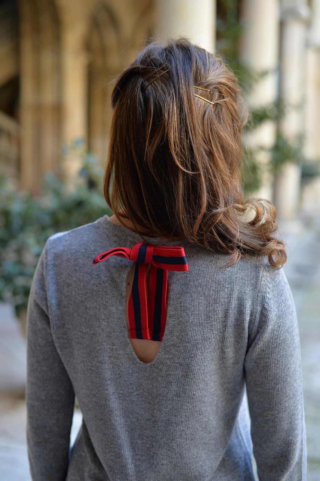 El Ganso grey sweater bow jersey gris lazo