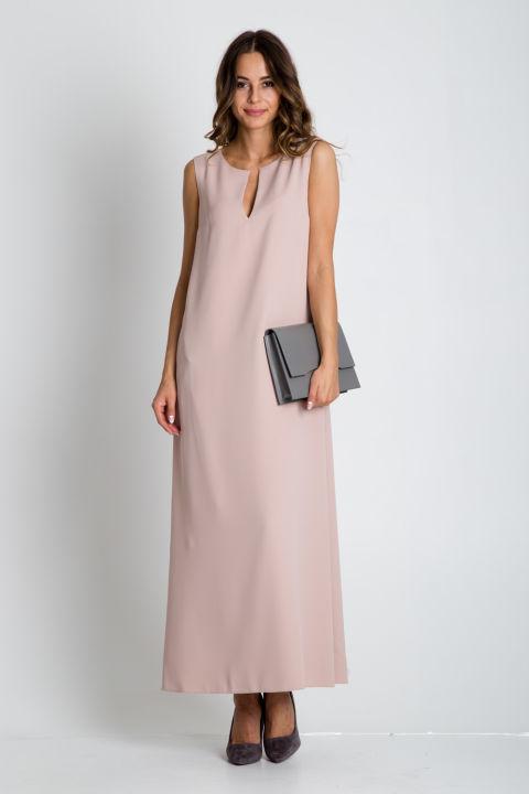 Beżowa sukienka maxi bez rękawów
