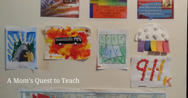 Easter page; fire truck; tent; cloud with rainbow; 9-1-1 craft
