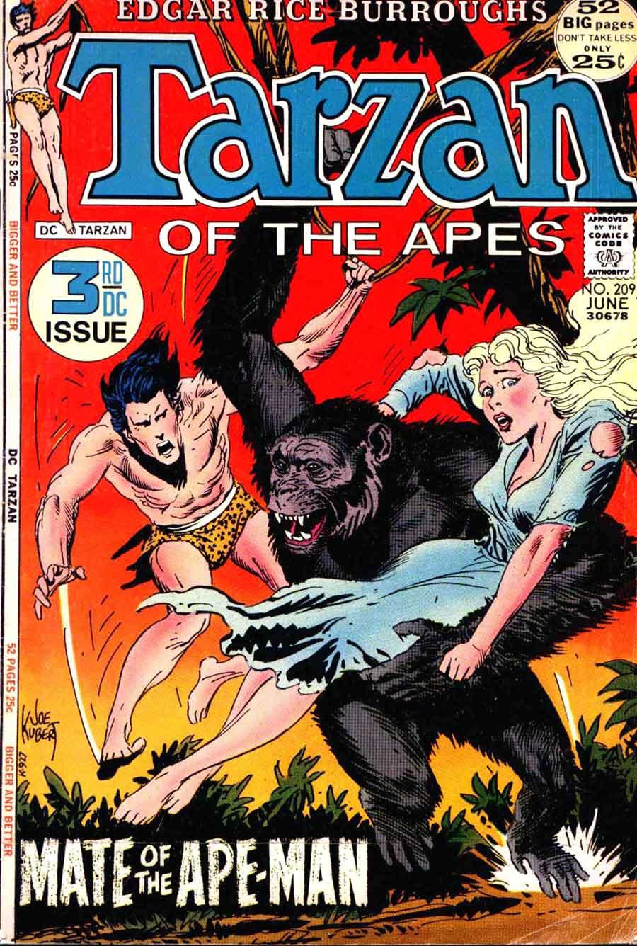 Tarzan v1 #209 dc comic book cover art by Joe Kubert