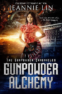 Book covers for Gunpowder Alchemy and Clockwork Samurai. Strong Asian women with imperial China and steampunk background.