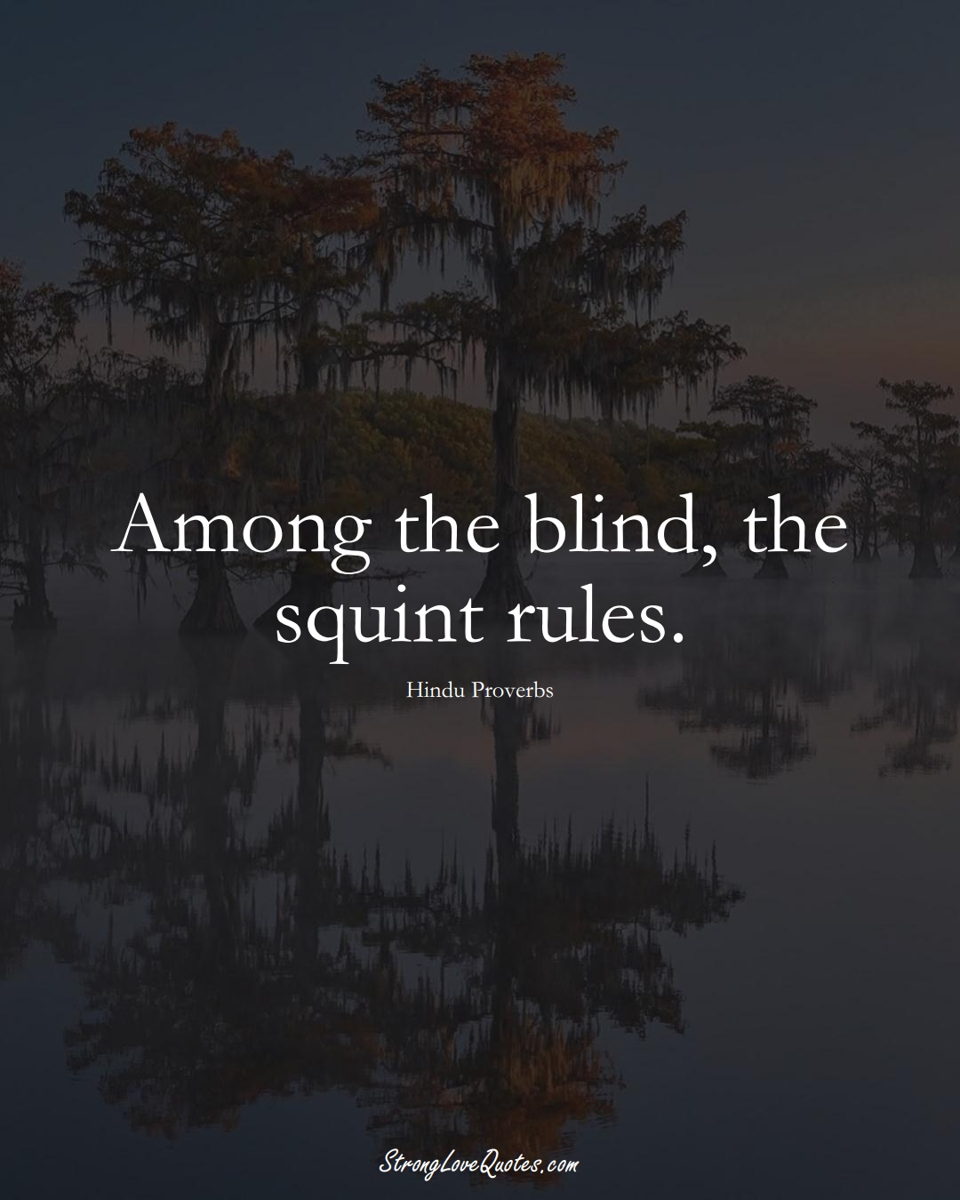 Among the blind, the squint rules. (Hindu Sayings);  #aVarietyofCulturesSayings